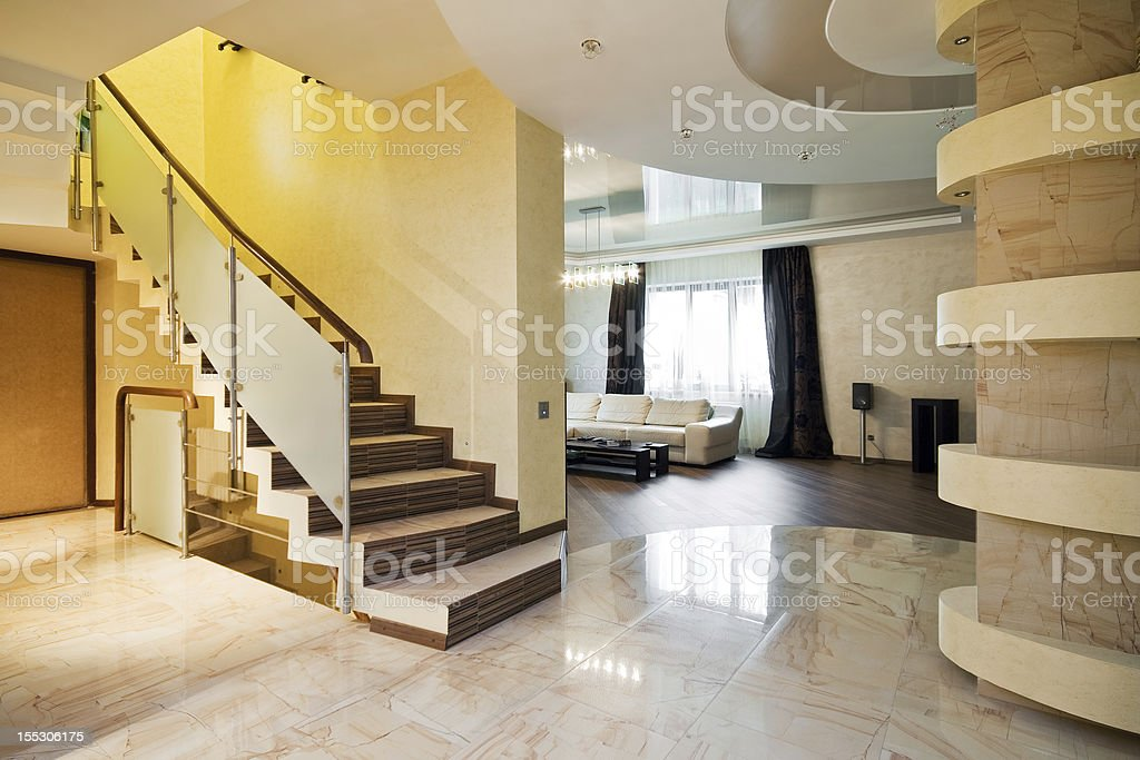 Luxury hall with staircase in a new house royalty-free stock photo