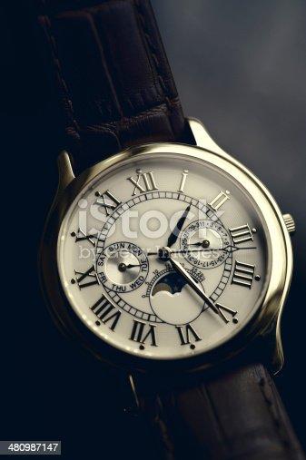 istock Luxury hand watch 480987147