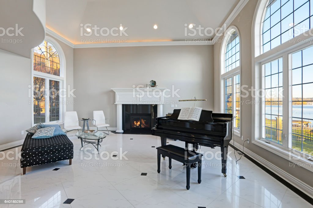 Luxury High Ceiling Living Room With Marble Floor Stock Photo Download Image Now Istock