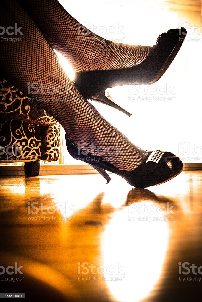 Luxury high heels with rhinestone stock photo