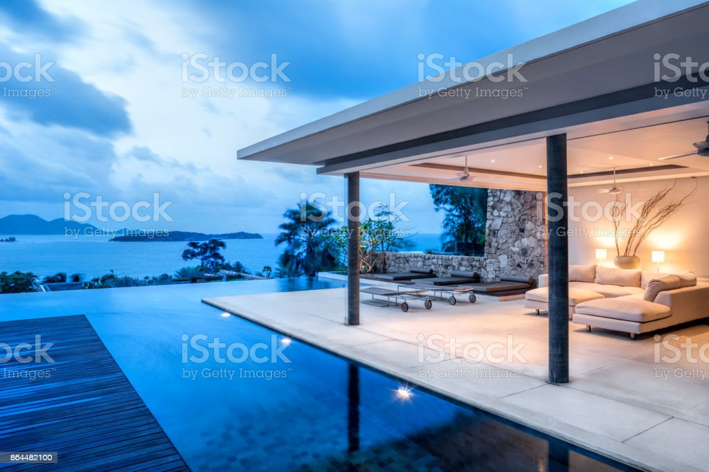 Luxury Holiday Island Villa Home Exterior With Infinity Pool stock photo