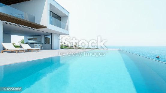 Modern luxury house with infinity pool over the ocean.