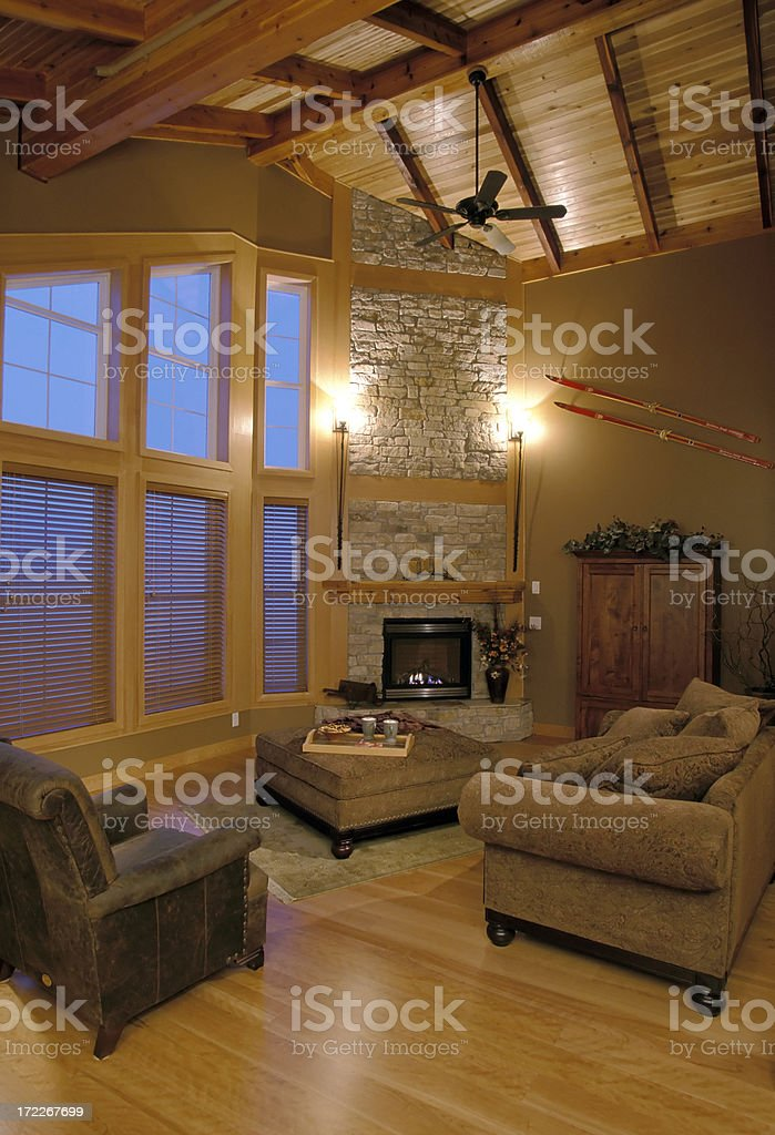 luxury home chalet interior royalty-free stock photo
