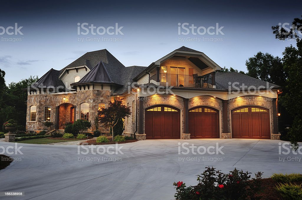 Luxury Home in The Evening stock photo