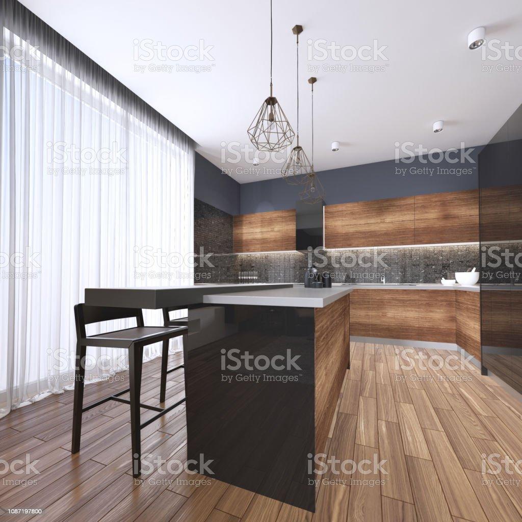 Luxus Nach Hause Innen Schöne Küche Mit Benutzerdefinierten Schwarz Und  Holz Shakerschränke Endlose Marmor Gekrönt Insel Mit Braunem Leder Hocker  Über ...