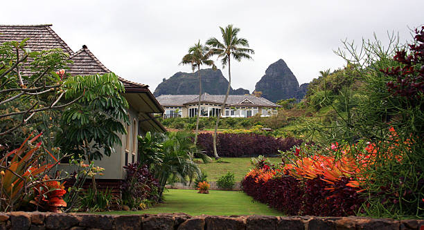 luxury home on hawaii - hawaii home stock photos and pictures