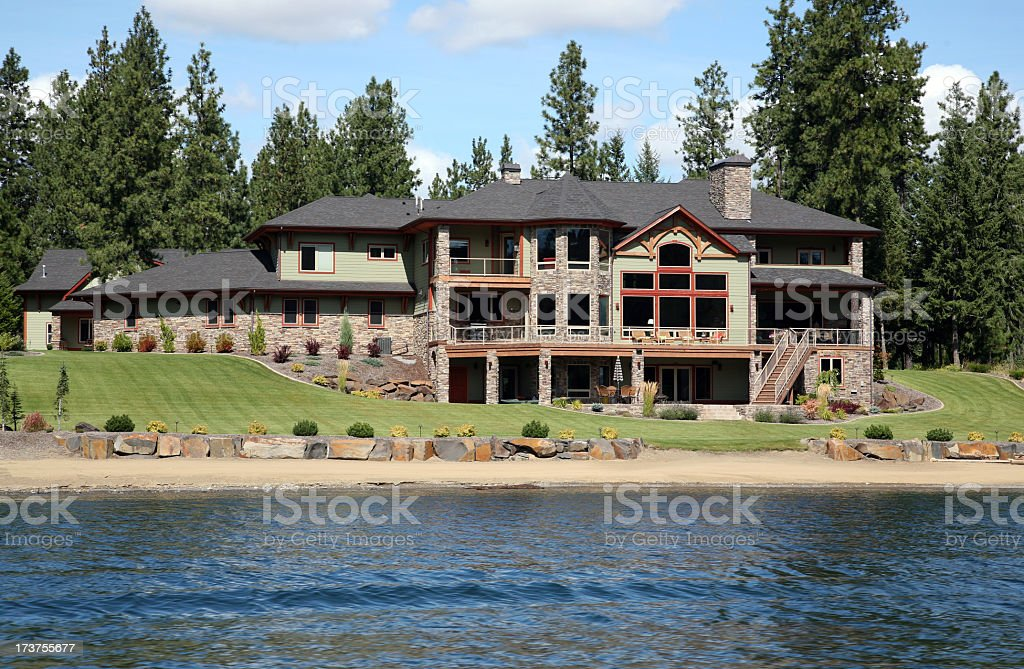 Luxury home on the river in Idaho royalty-free stock photo