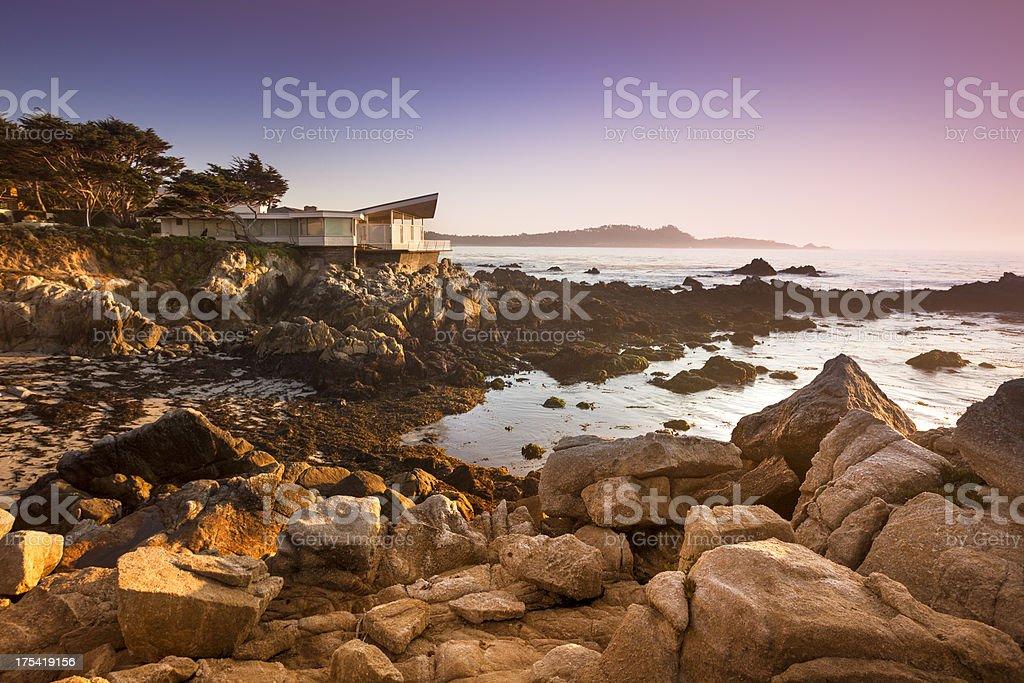 Luxury home overlooks the Big Sur, Coastline and sea royalty-free stock photo