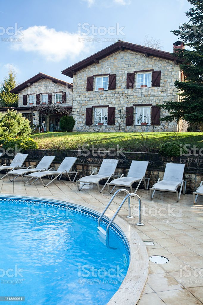 Luxury Home Pool Shot royalty-free stock photo