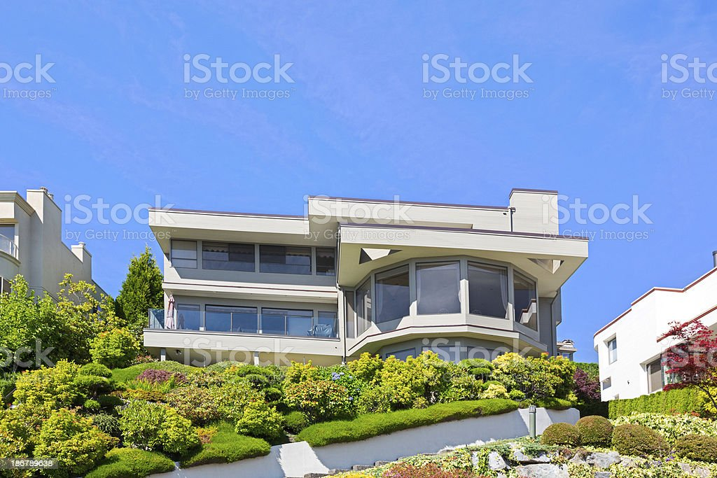 Luxury home sits on a hilltop royalty-free stock photo