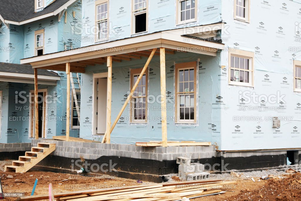 Luxury home under construction stock photo