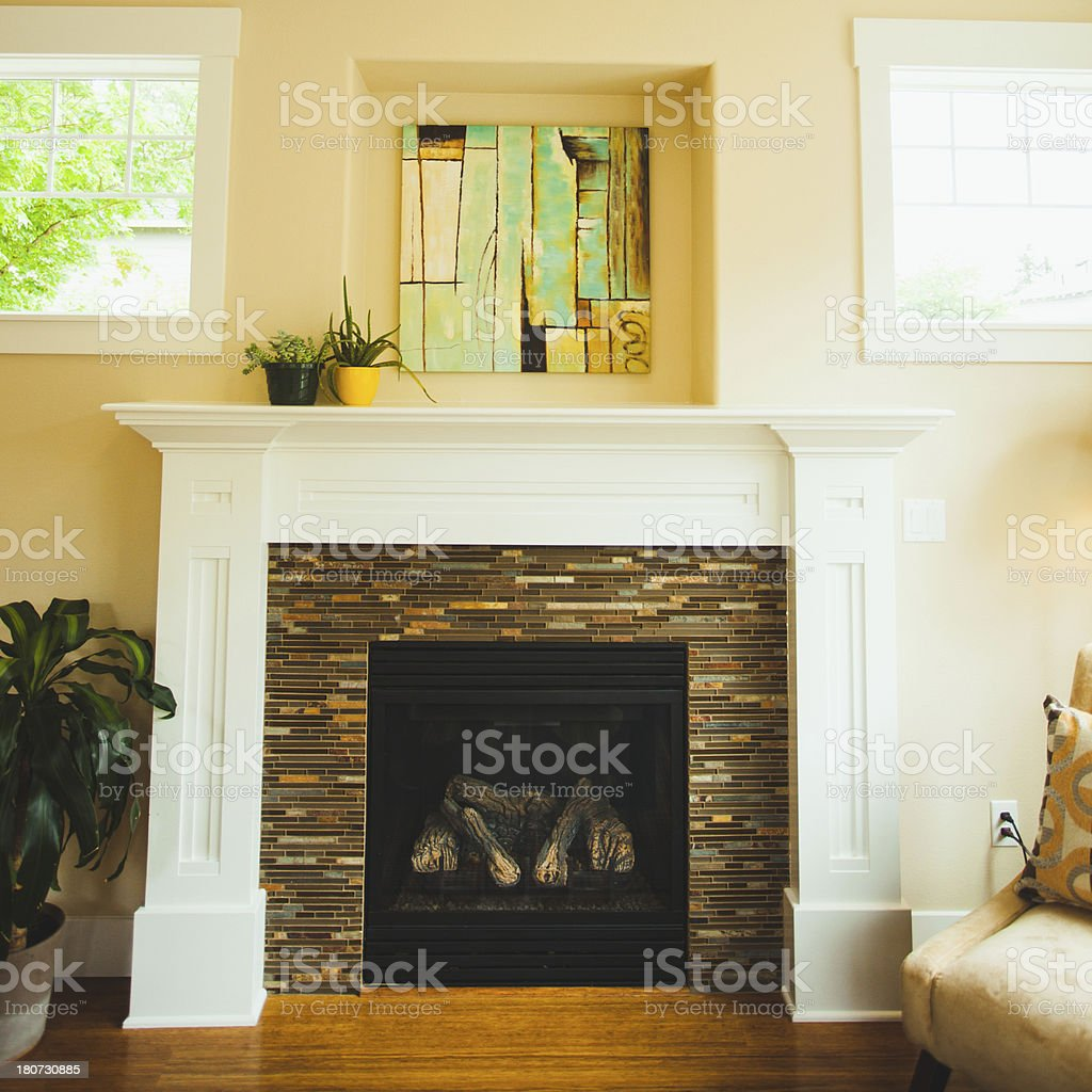 Luxury Home with Fire Place and Mantle Top royalty-free stock photo