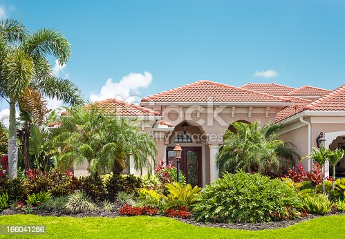 New luxury home with lush tropical foliage: palm trees, flowers, tropical plants and bushes. Tile roof. Clear blue sky. http://i1127.photobucket.com/albums/l632/ocanannain/lightbox-luxuryhomesexteriors.jpg