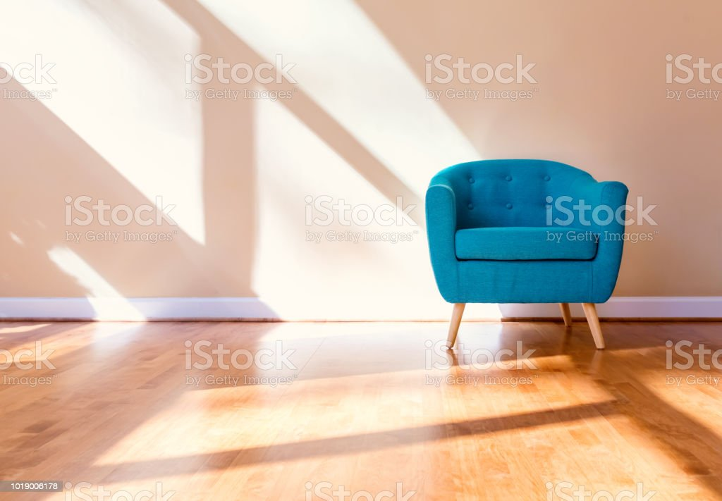 Luxury home with turquoise chair stock photo