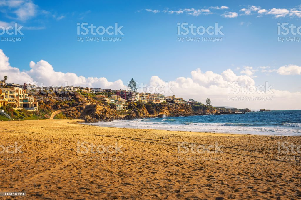 Luxury ocean side homes above Corona Del Mar State Beach as seen from...