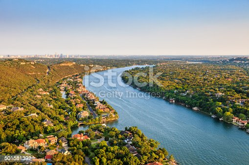 istock luxury homes, Austin Texas, Colorado River, Mount Bonnell district, aerial 501581392
