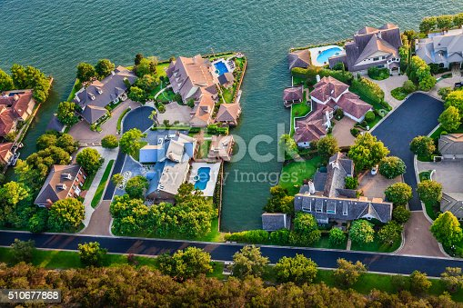 istock luxury homes, Austin Texas, Colorado River, Mount Bonnell district, aerial 510677868