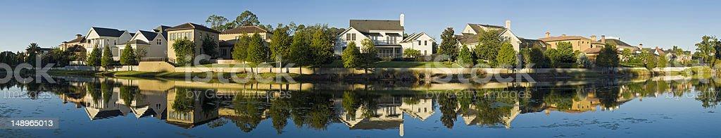 Luxury homes reflected stock photo