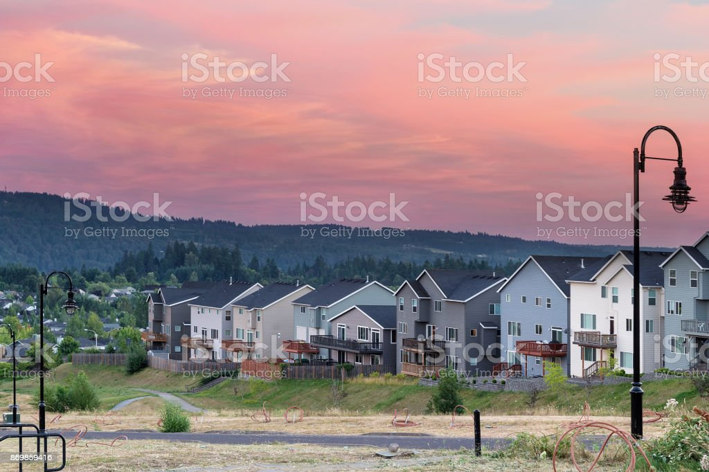 Luxury homes subdivision development in Happy Valley Oregon USA stock photo