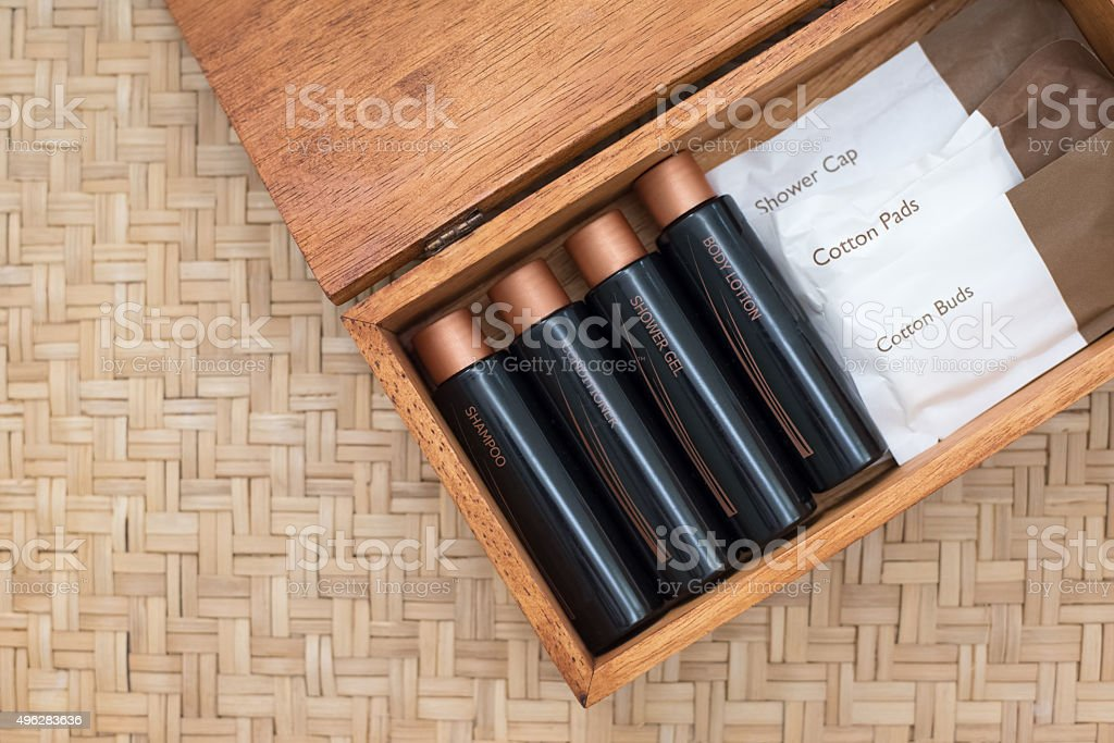 Luxury Hotel Amenity Set in a Wooden Box stock photo