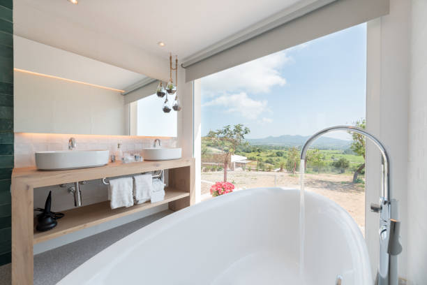 Luxury hotel bathroom stock photo