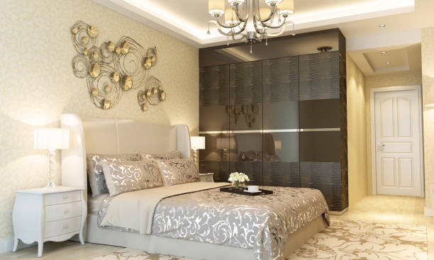 Luxury Hotel Bedroom Interior Luxury designed bedroom interior scene in hotel room. ( 3d render ) luxury hotel room stock pictures, royalty-free photos & images