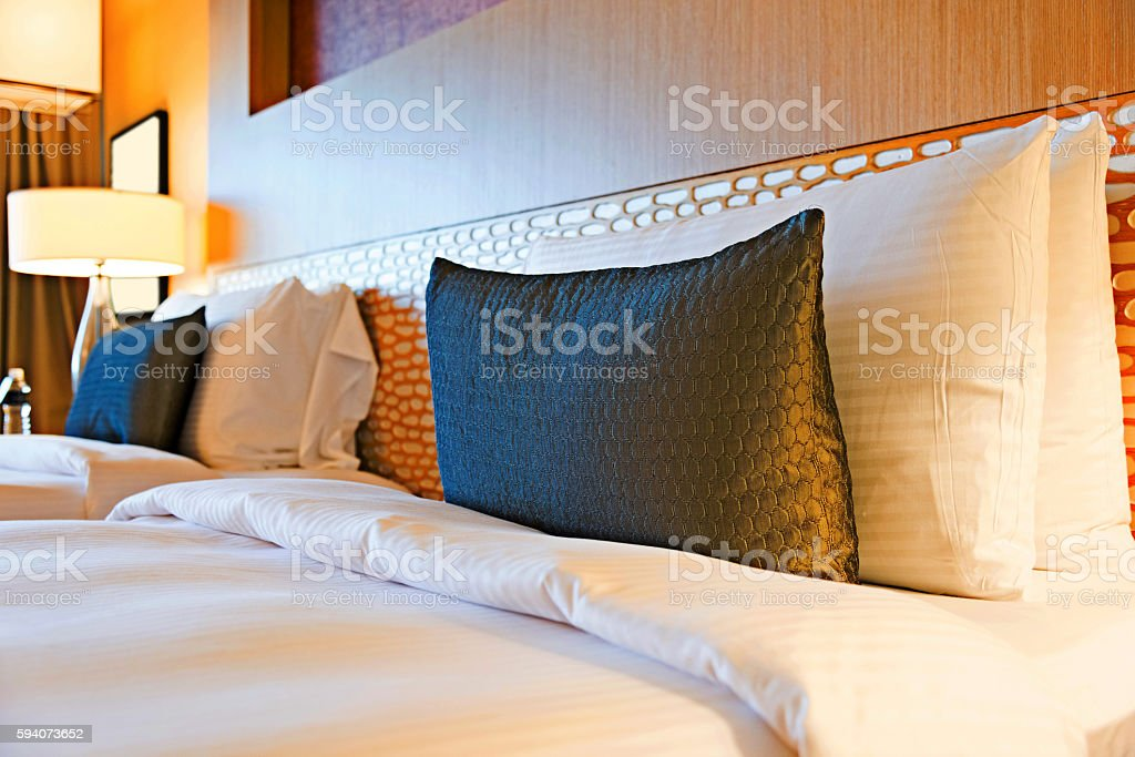 Luxury hotel bedroom stock photo