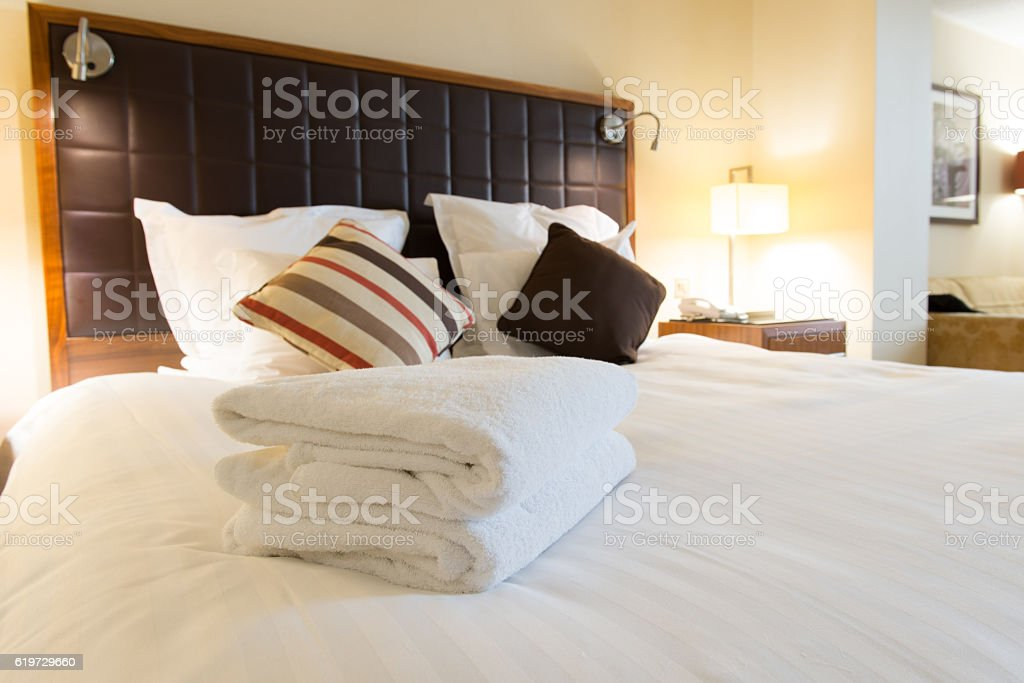 Luxury hotel bedroom stock photo