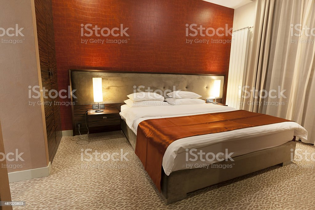 Luxury hotel double bed room royalty-free stock photo