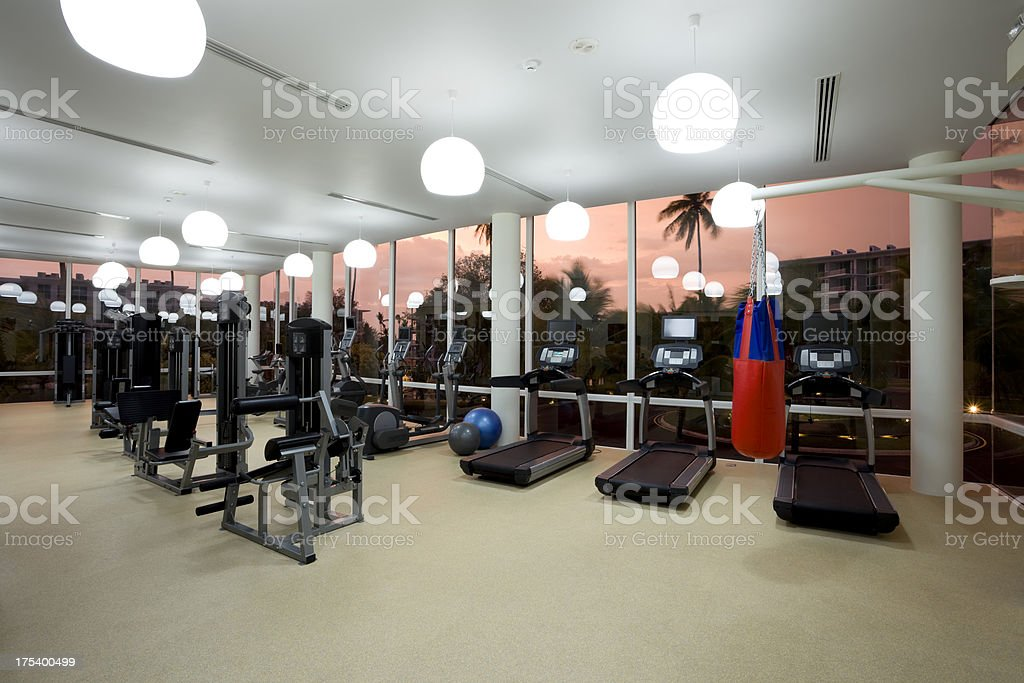 luxury hotel health club gym fitness equipment royalty-free stock photo