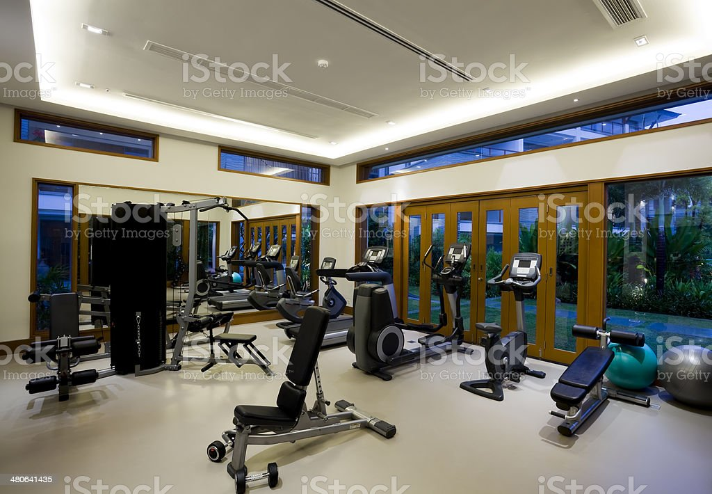 Luxury hotel health club gym fitness equipment stock photo for Equipement hotel