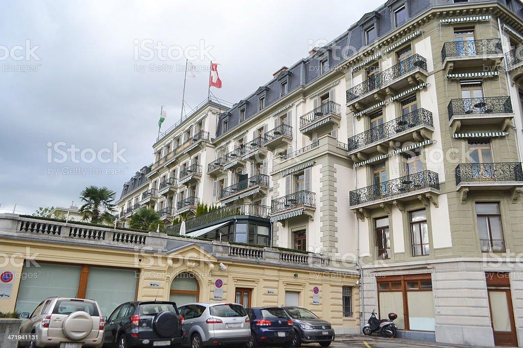Luxury hotel in Vevey, Switzerland stock photo