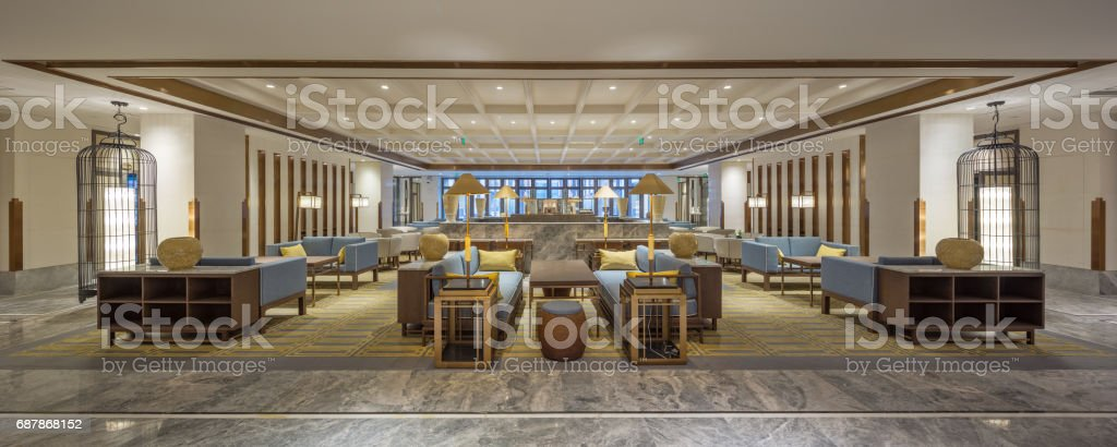 luxury hotel lobby interior stock photo
