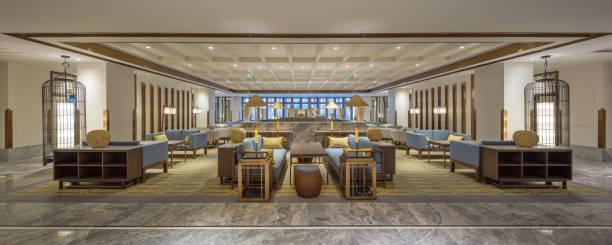 luxury hotel lobby interior stock photo