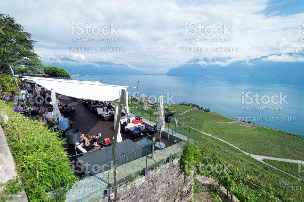 Luxury hotel overlooking the UNESCO vinyards of Lavaux stock photo