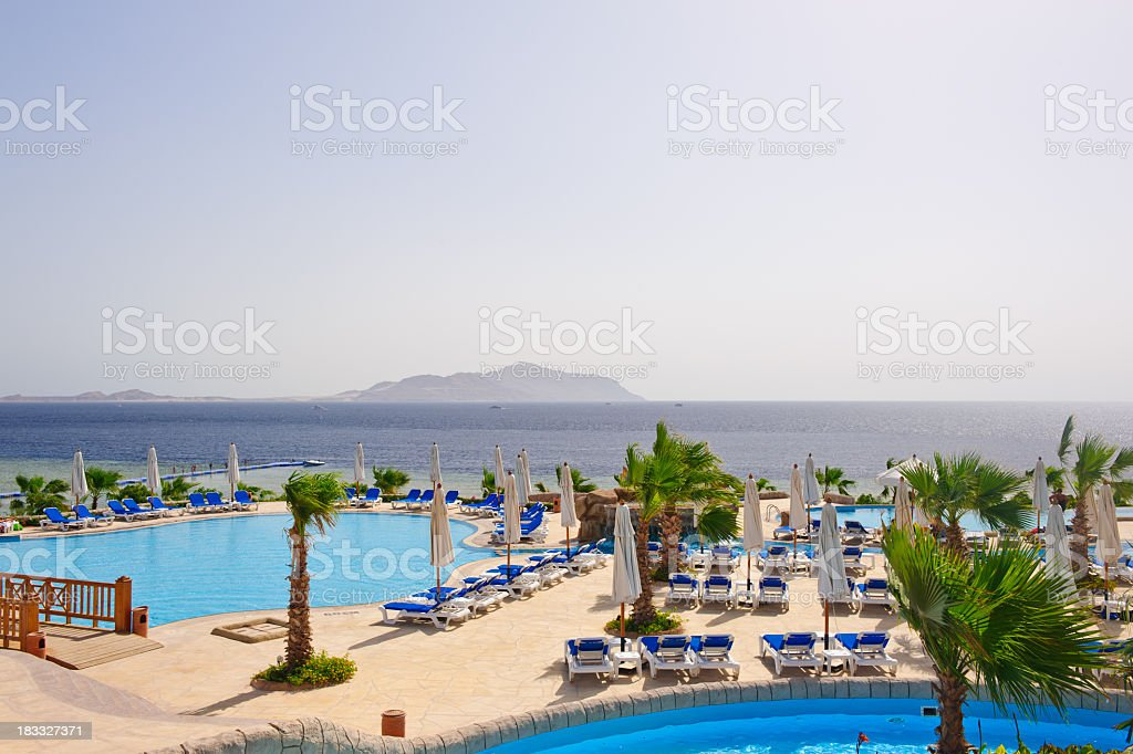 Luxury hotel resort with view on Titan island royalty-free stock photo