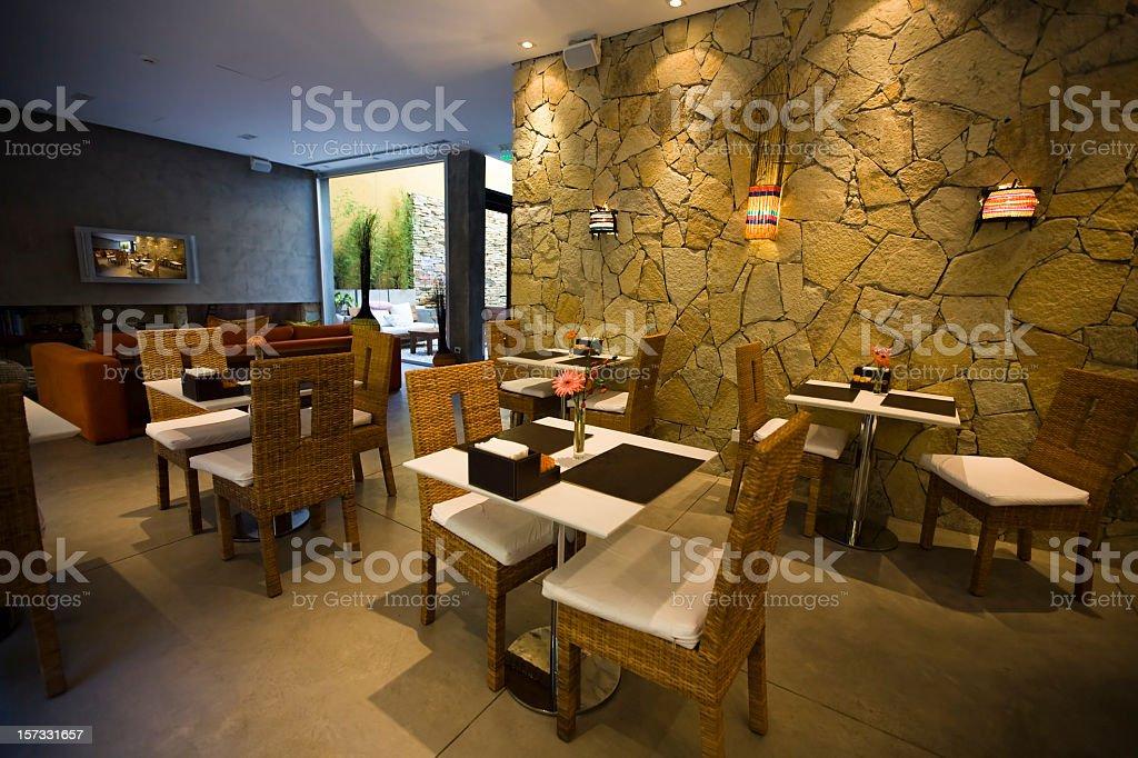 Luxury hotel restaurant with lobby royalty-free stock photo