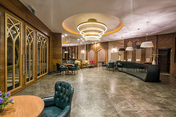 luxury hotel spa center lobby stock photo