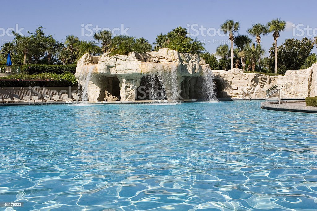 Luxury hotel swiming pool stock photo
