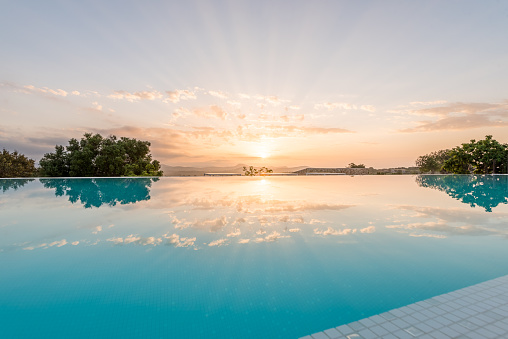 Luxury Hotel Swimmin Pool In The Morning Stock Photo - Download Image Now