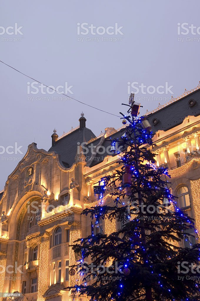 Luxury hotel with christmas tree royalty-free stock photo
