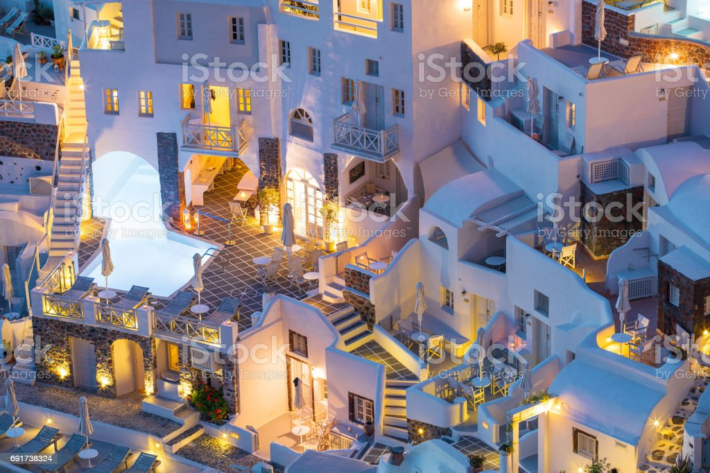 Luxury hotels, villas and apartments in Santorini, Greece stock photo