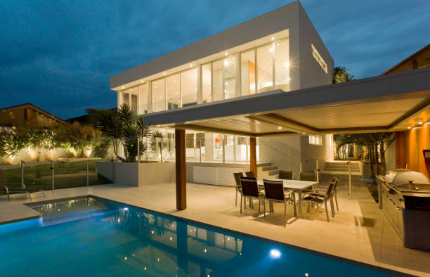 Luxury house front at sunset stock photo