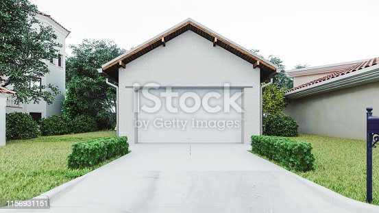 The exterior of a modern garage with a concrete driveway at the urban district.
