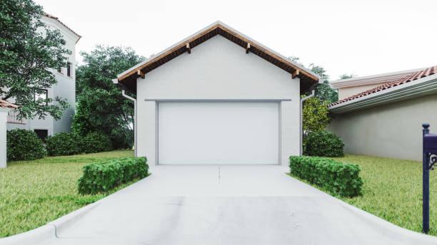 garagem luxuosa da casa com entrada de automóveis concreta - garage - fotografias e filmes do acervo