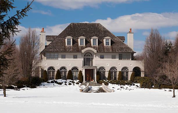 Luxury House in Winter stock photo