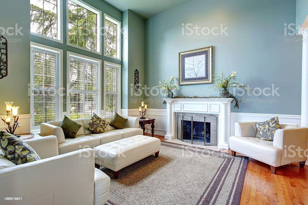 Luxury house interior. ELegant living room stock photo