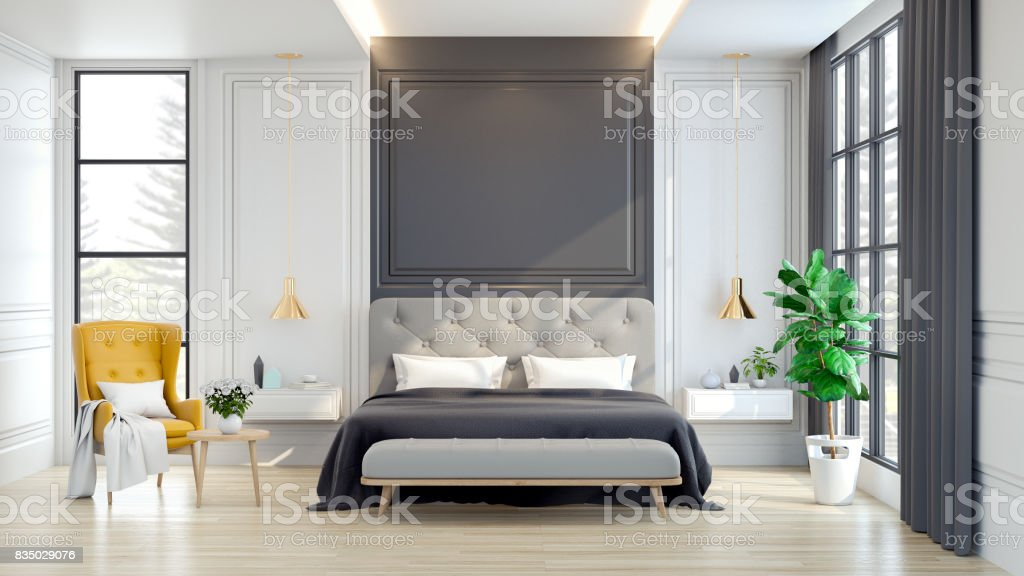 Luxury house.  interior of Bedroom  ,3d rendering stock photo