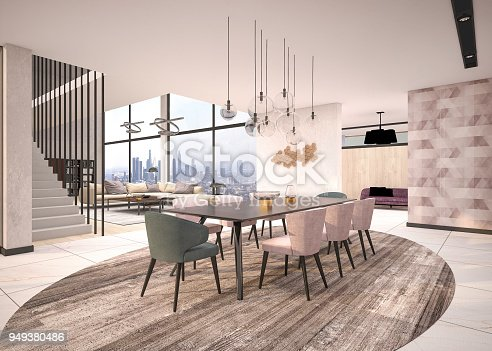 istock Luxury House, modern living and dining room 949380486