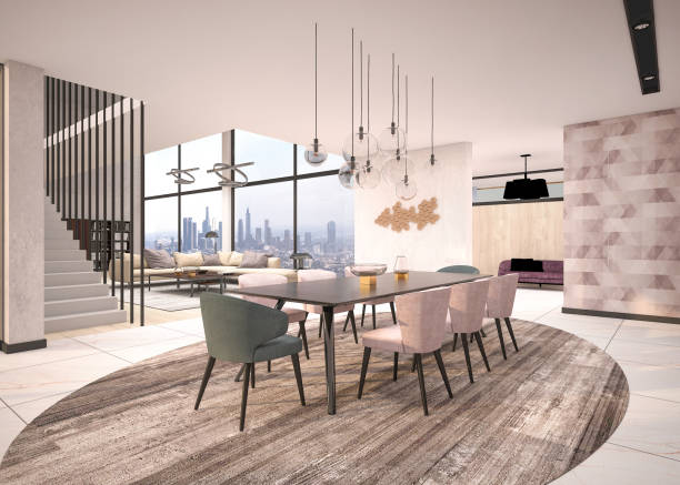 Casa de luxo, vida moderna e sala de jantar - foto de acervo